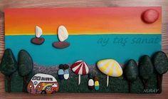 *ay taş sanat tasarımı* 35×19 cm #taş #boyama #taşboyama #pano #stone #art #rock…