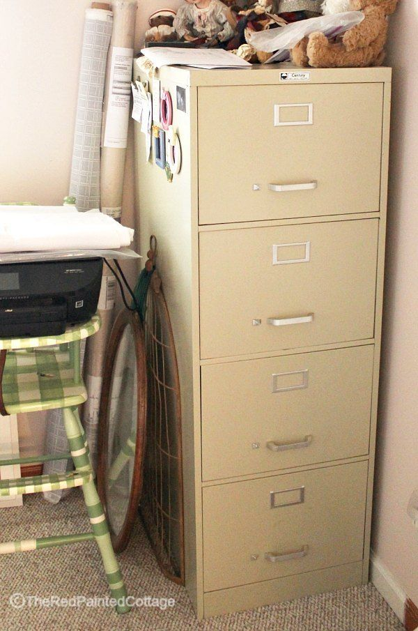Detailed tutorial on how to turn a file cabinet into extraordinary using paint, wood and corrugated metal. Start with any metal file cabinet.  This is the befor…