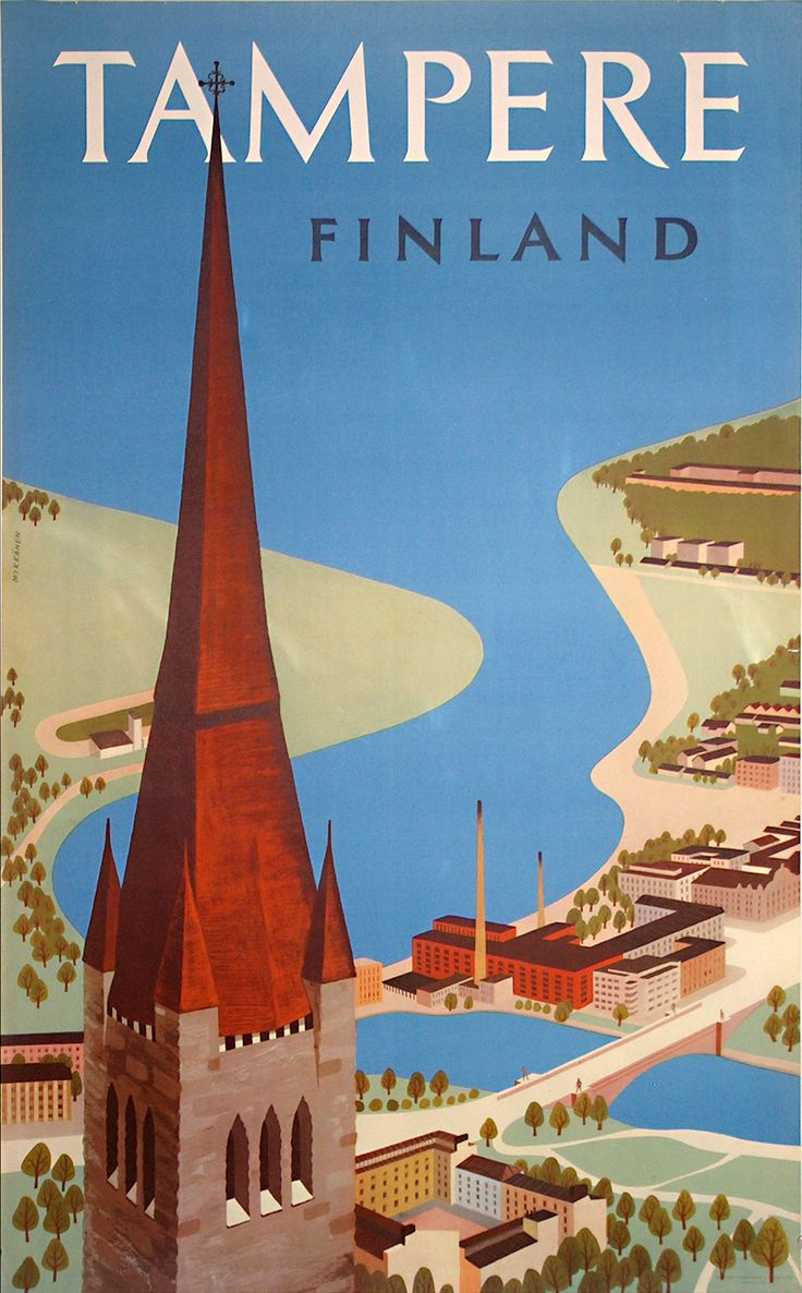 Tampere Finland Vintage Travel Poster - Poster Paper, Sticker or Canvas Print