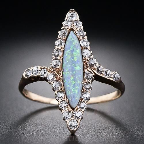 Victorian Navette Opal and Diamond Ring