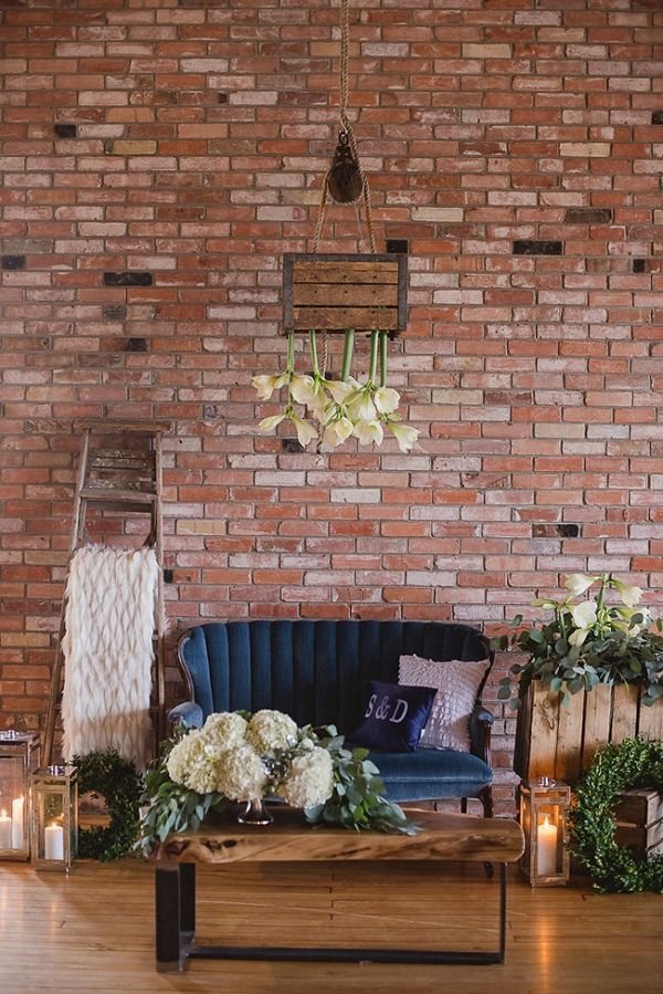Cozy Chic Vintage Decor Lounge Featuring Suspended Flowers | Wendy Alana Photography on @StorybrdWedding via @aislesociety