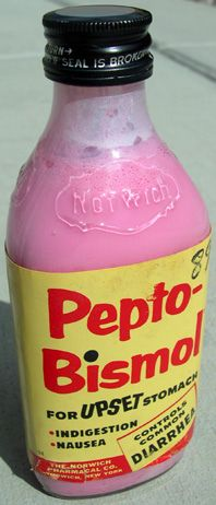 1950's-style bottle of PEPTO-BISMOL. In my kid days one of the up sides of being ill was getting to down a spoonful or two of this stuff. I kind of loved it. I don't use it anymore, and probably wouldn't like it as much now, but I always wondered why all other medicines had to taste so vile compared to this. http://pinterest.com/earthgroove2/pins/