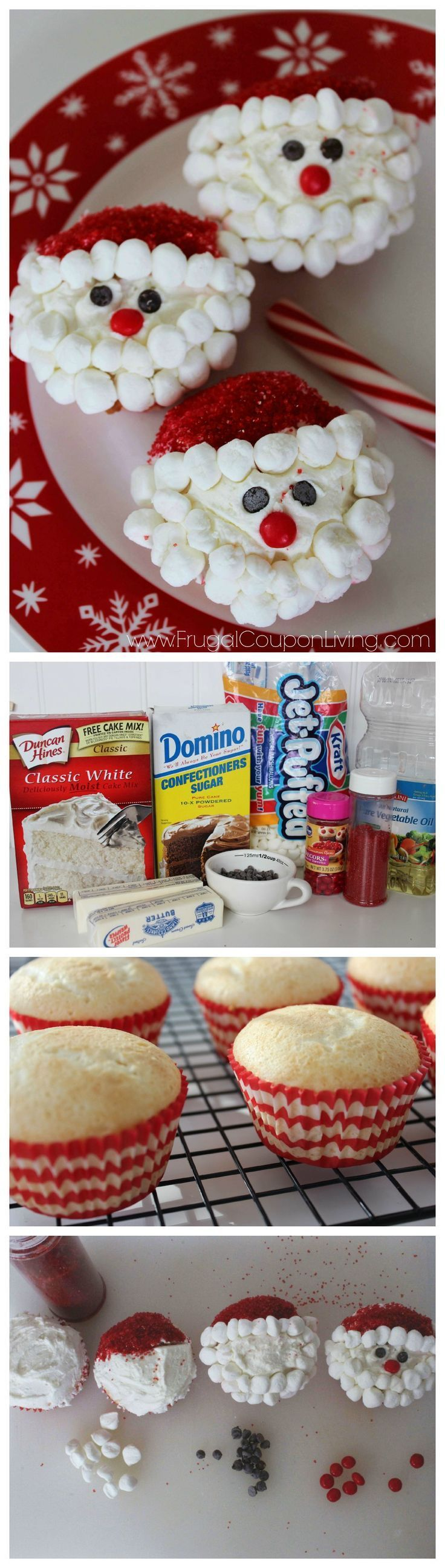 Easy Santa Cupcakes. This kids food craft is perfect for a cookie exchange, a school holiday party, and leaving out for Santa on Christmas Eve. Steps on Frugal Coupon Living.