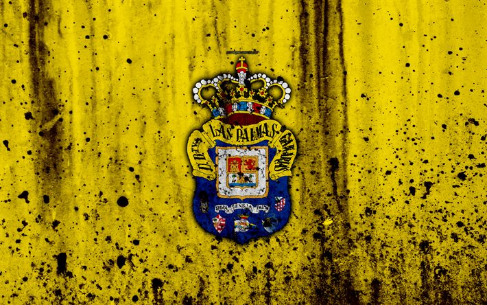 Download wallpapers Las Palmas, 4k, grunge, La Liga, stone texture, soccer, football club, LaLiga, Las Palmas FC