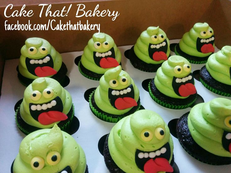 Ghostbusters Slimer cupcakes