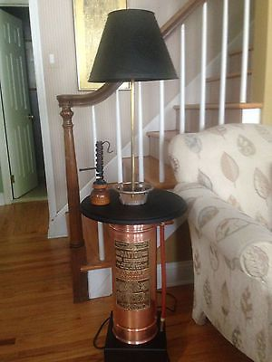 vintage,restored fire extinguisher lamp/table with punched tin shade