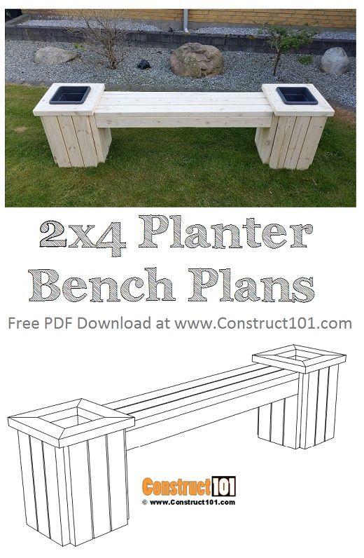 Planter Bench Plans Pdf Download Construct101 Diy Bench