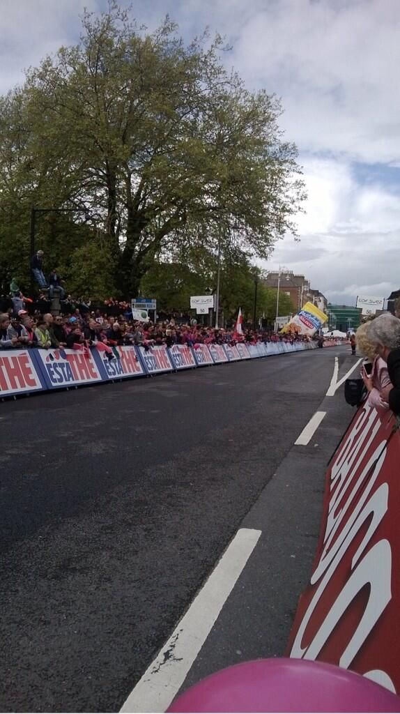 Crowds line the streets of Dublin to cheer on the competitors.