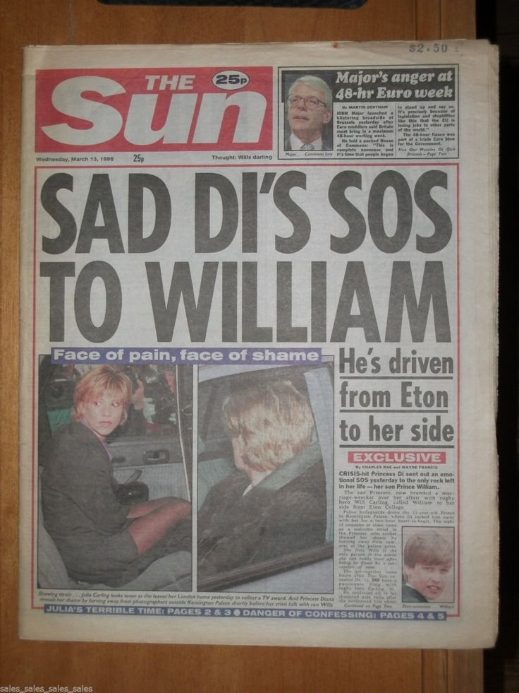 Princess Diana Prince William Frank Bruno Mike Tyson 1996 British Newspaper Sun | eBay