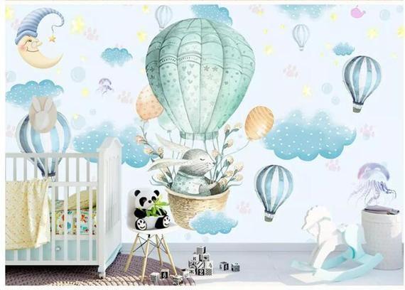 Cartoon Rainbow Cloud Air Balloon Wall Sticker Mural Decal Baby Kid Room Decor d