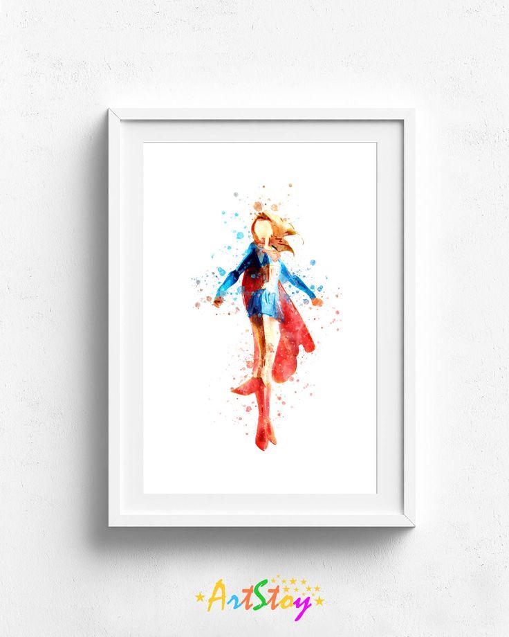 3.00$ - Supergirl poster, superhero poster, supergirl wall art, superman poster, children poster, superman girl poster, supergirl picture custom art