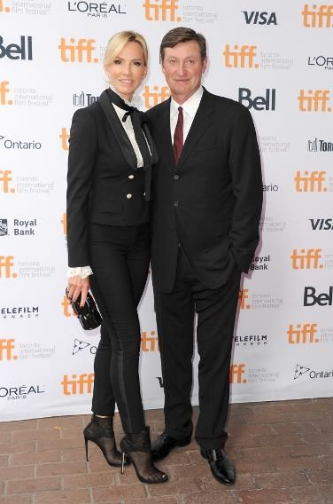 Janet Jones and Wayne Gretzky, NHL Hockey Legend, The hockey legend and his actress wife attend the 'Red Army' premiere on Sept. 9.