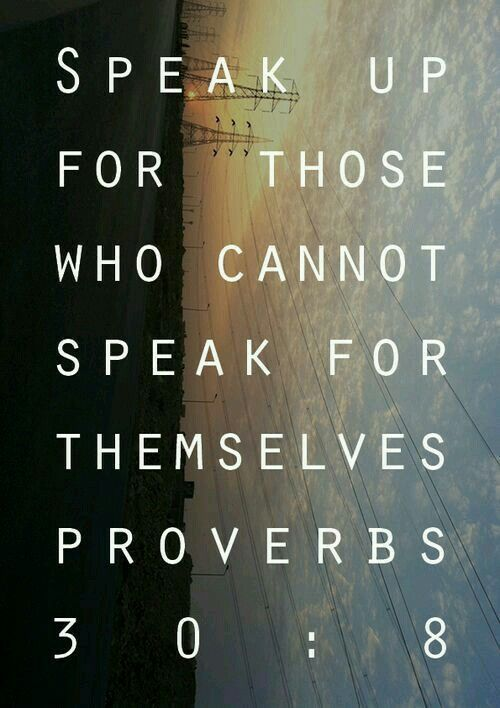 Speak up for those who cannot speak for themselves. Proverbs 30:8