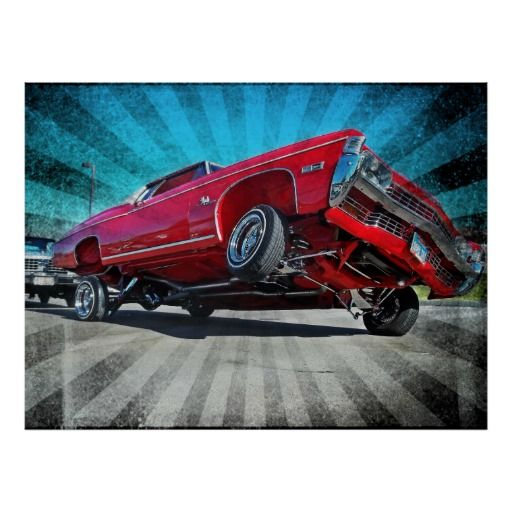 Red 1968 Lowrider Chevrolet Impala Poster
