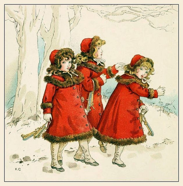 Illustration from The April Baby's book of Tunes by Kate Greenaway 1900 Plate 1 'Watched them go off with their skates' by CharmaineZoe, via Flickr
