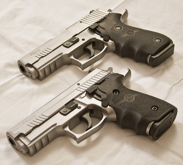 Sig-Sauer P229 Elite Stainless and a P220 Carry Elite Stainless with Hogue grips.