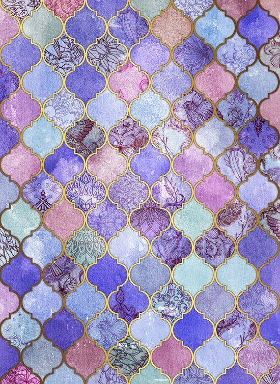 Royal Purple, Mauve & Indigo Decorative Moroccan Tile Pattern Art Print