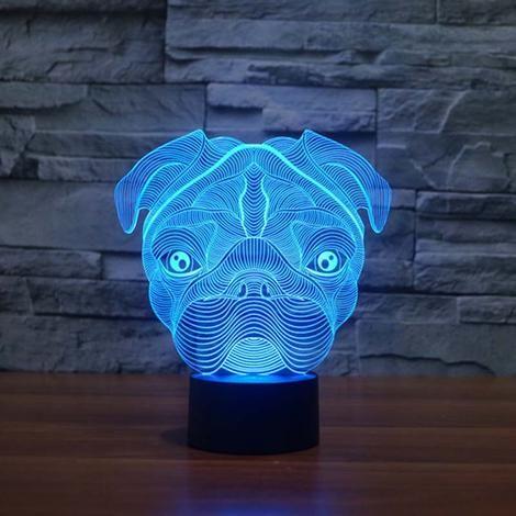 Pug Dog 3D Led Night Light