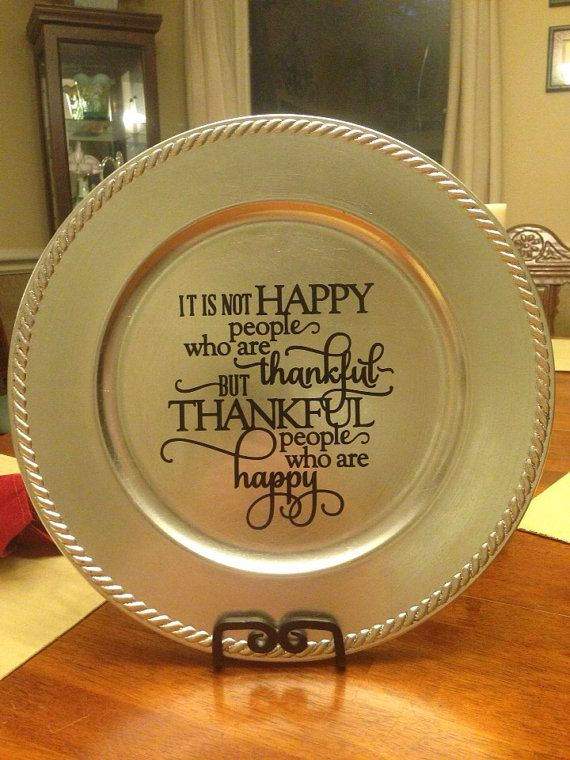 Thankful Vinyl Decorated Charger Plate on Etsy $10.00 & 116 best Charger Plates images on Pinterest | Xmas Charger plate ...