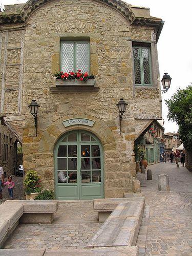 Unique shaped house between two roads.  La Cite, Languedoc-Roussillon, FR