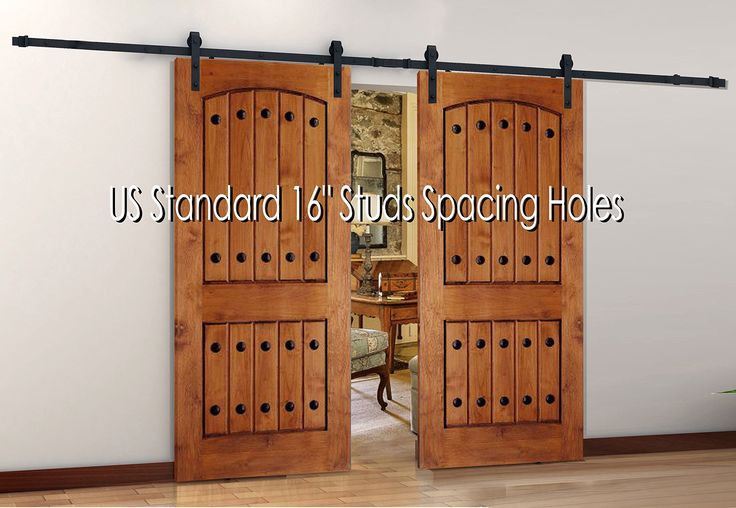 """Antique Style Steel Sliding Wood Barn Door Hardware 120″ with Splice, Premium Quality. Extra Supply : Longer Bolts for Door Thickness 1-3/4"""" and Concrete Anchor Bolts !"""