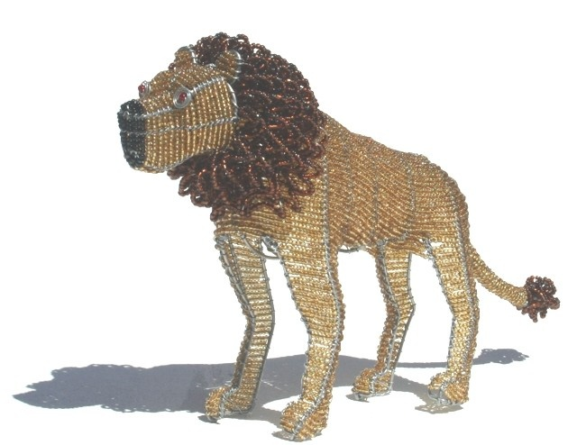 BEADED WIRE LION - Art Hand Made In South Africa