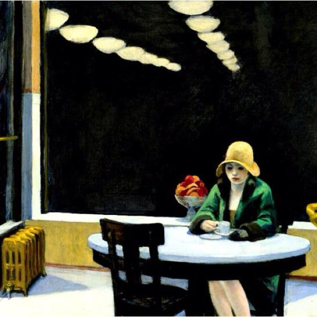 This is an iconic Hopper painting. Again, it could be a still from a movie. The girl is alone in the city with the gathering darkness outside. The composition is great with the two converging lines of lights drawing your eye towards the girl. Melancholy.