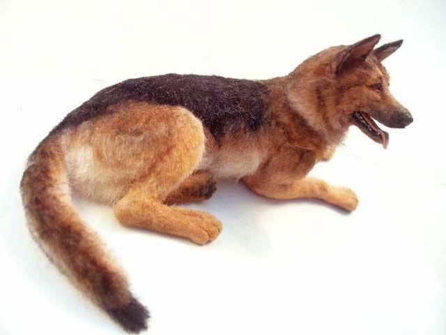 Dollhouse Miniature German Shepherd Dog  *Handsculpted*