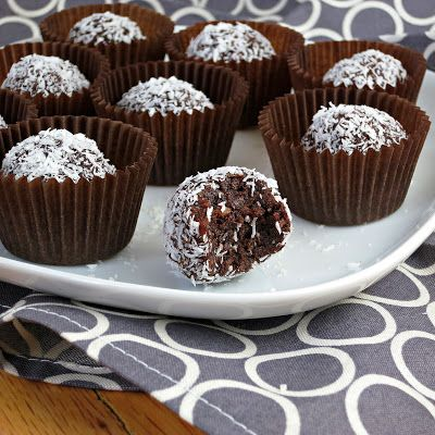 Chocolate Coconut Truffles: 8 oz pitted dates, 3 tbsp cocoa powder, 3 tbsp unsweetened shredded coconut. blend in food processor or with immersion blender (add small amount water if needed). Roll in additional coconut. Refrigerate.