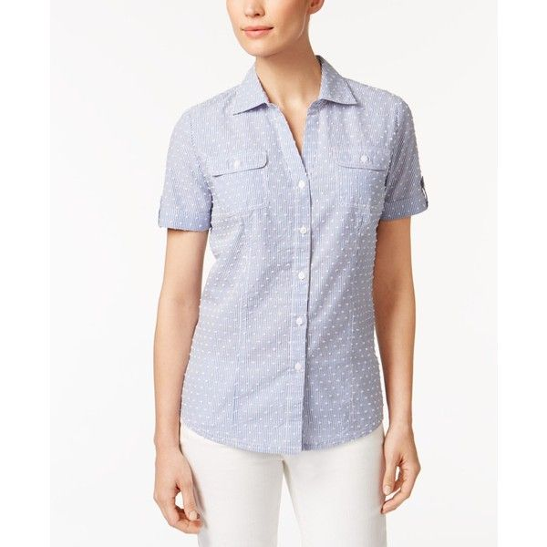 Karen Scott Printed Cotton Shirt, ($24) ❤ liked on Polyvore featuring tops, persian blue clip dot, polka dot top, short sleeve button up shirts, short-sleeve shirt, karen scott tops and short sleeve tops