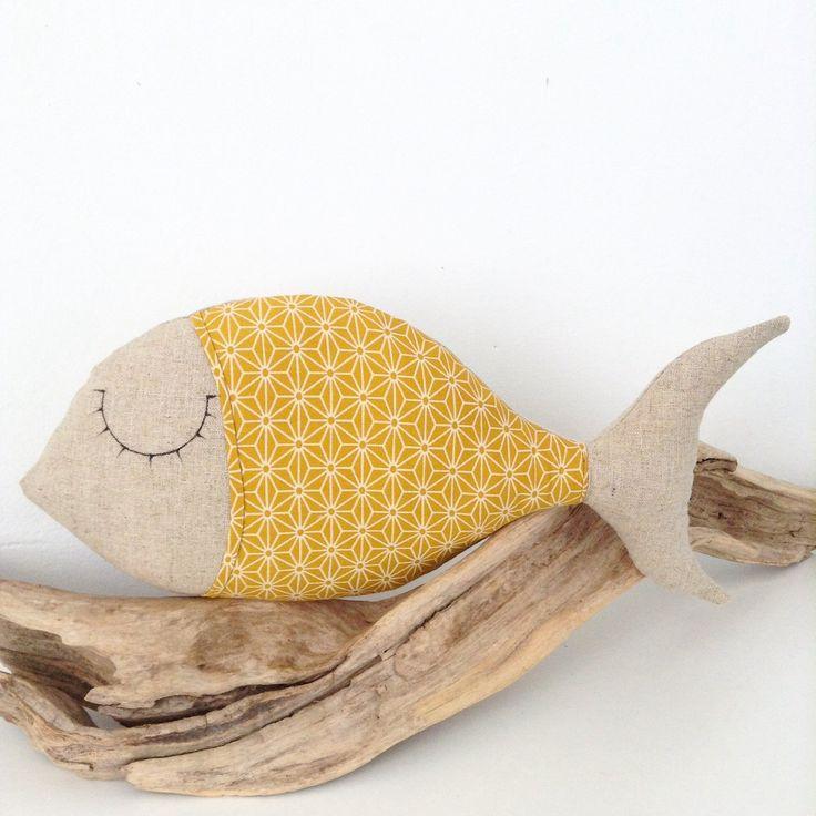 coussin poisson en lin et tissu japonais jaune . : Textiles et tapis par lilihouat