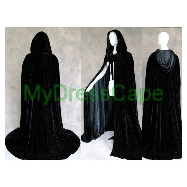 Velvet Black Satin Hooded Cloaks Halloween Robes Wedding Capes... ($39) ❤ liked on Polyvore featuring costumes, women's plus size halloween costumes, christmas costumes, plus size halloween costumes, womens plus costumes and christmas halloween costume
