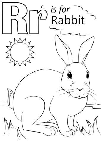 Letter R is for Rabbit coloring page from Letter R