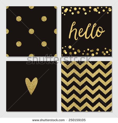 Cute cards with gold Confetti glitter collection. Perfect for valentines day, birthday, save the date invitation. Could use as seamless pattern