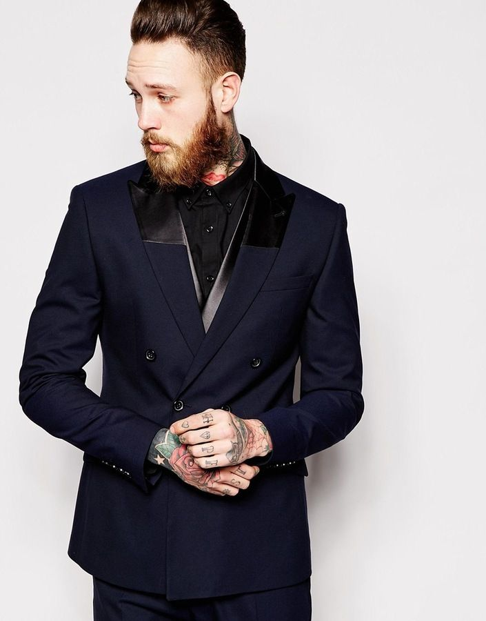 $171, Asos Brand Slim Fit Double Breasted Tuxedo Jacket. Sold by Asos. Click for more info: https://lookastic.com/men/shop_items/288908/redirect