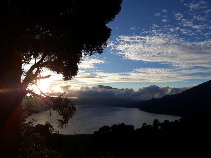 Sunrise in the top of buyan lake at munduk village