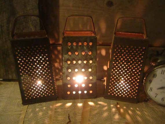 RESERVED for FleasAntiques - Vintage Rustic Graters - Set of 10 - Instant Kitchen Collection - Repurpose as Pierced Candle Lights