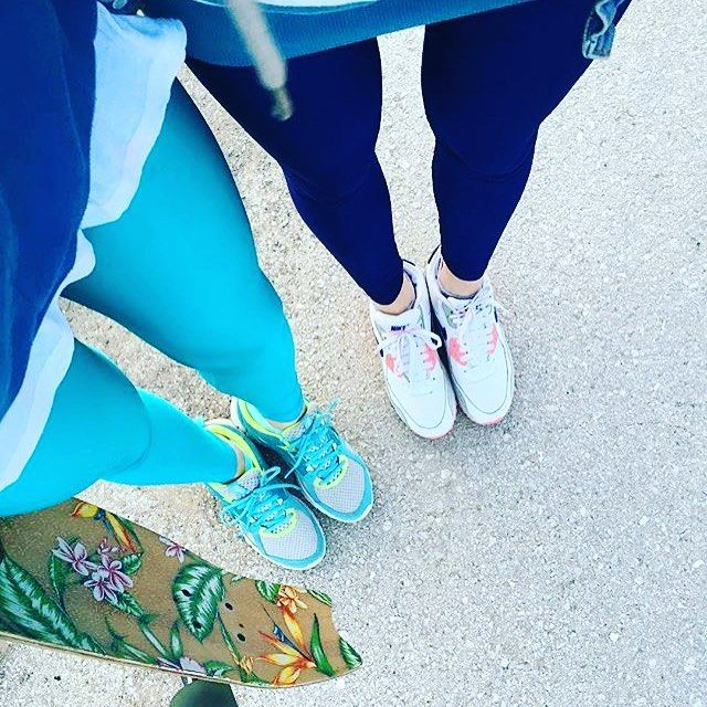 Go skating day! With #pcpdoubletrouble Elina and her bestie in the Aqua and dark blue #pcpleggings  #pcpclothing #pcpinia #pcp #theoriginal