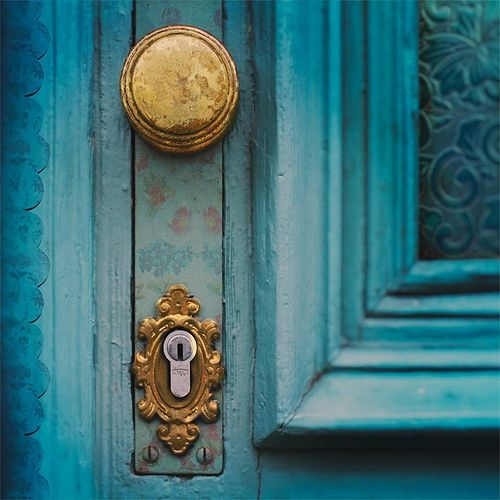 Turquoise and gold door knob and lock with delicate for Turquoise door knobs