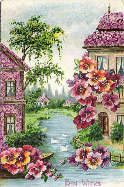 Houses decorated with flowers