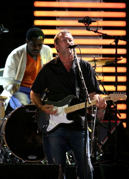 EC and drummer Steve Jordan perform during the Crossroads Guitar Festival 2007 held at Toyota Park on July 28, 2007 in Bridgeview, Illinois.