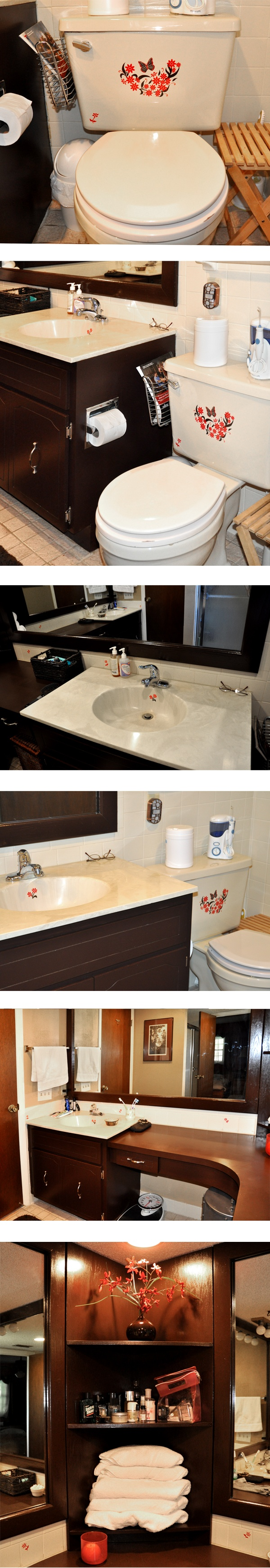 We used Sinkadoodles decals to add some red accent coloring to our brown bathroom with some Red and Brown Daisy designs.