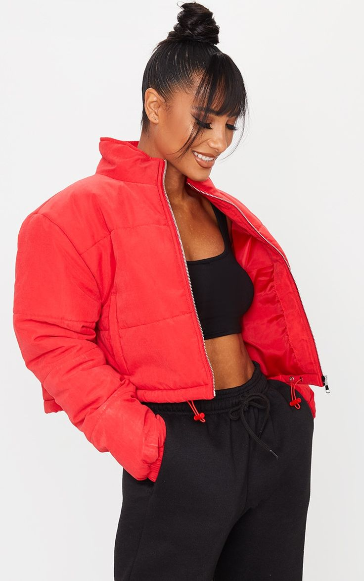 Red Super Cropped Peach Skin Puffer Red Puffer Jacket Puffer Jacket Outfit Plus Size Looks [ 1173 x 736 Pixel ]