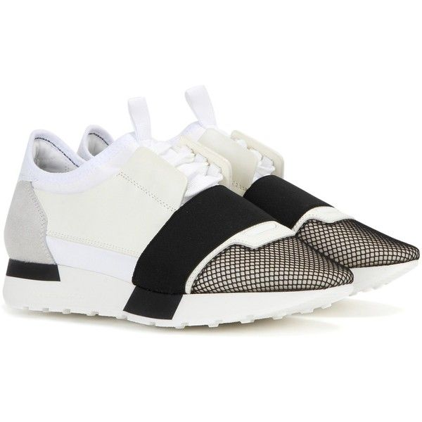 http://yrt.bigcartel.com Balenciaga Race Runner Fabric and Leather Sneakers ($700) ❤ liked on Polyvore featuring shoes, sneakers, white, balenciaga, white leather sneakers, balenciaga sneakers, white leather shoes and leather footwear