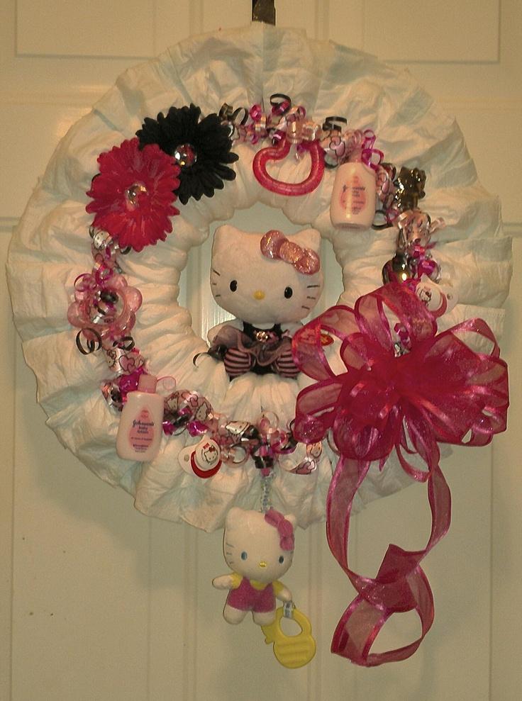 Hello Kitty Diaper Wreath Hello Kitty Baby Shower