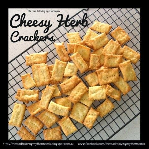 The road to loving my Thermomix: Cheesy Herb Crackers 180g plain flour 1 tablespoon of dried mixed herbs 1 teas garlic powder, optional  80g cold butter, cubed 35g parmesan cheese, cubed 100g grated cheddar or similar cheese 1 teas salt 1/2 thermomix measuring cup of cold water