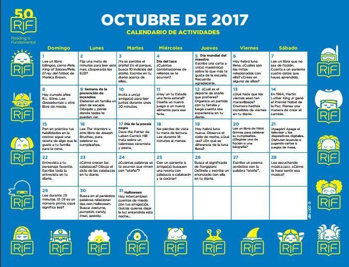 Calendario de actividades para trabajar la lectura a partir de 6 años mes de OCTUBRE -Orientacion Andujar