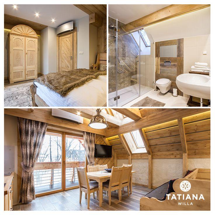 Apartament Stary Smrekowy - w jego aranżacji użyto drewna z ponad 100-letnich chałup góralskich. Smrek, czyli w gwarze podhalańskiej świerk, oprócz zastosowania w budownictwie, przemyśle papierniczym i przy wyrobie instrumentów muzycznych, znany jest ze swojego działania leczniczego.