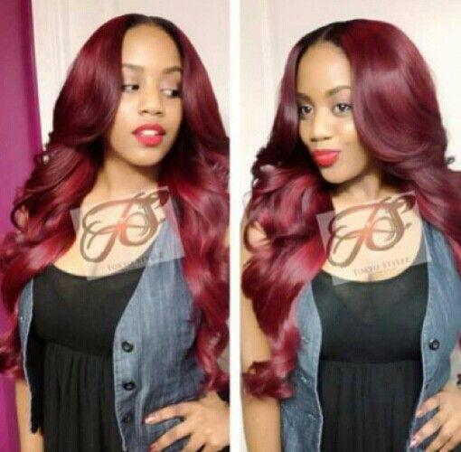 Red weave hairstyles http://www.shorthaircutsforblackwomen.com/kinky-hair-weave/