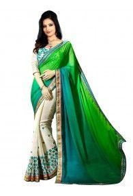 Pastel Prints Collection Beautiful Half-Half Saree By Shreya Corporation